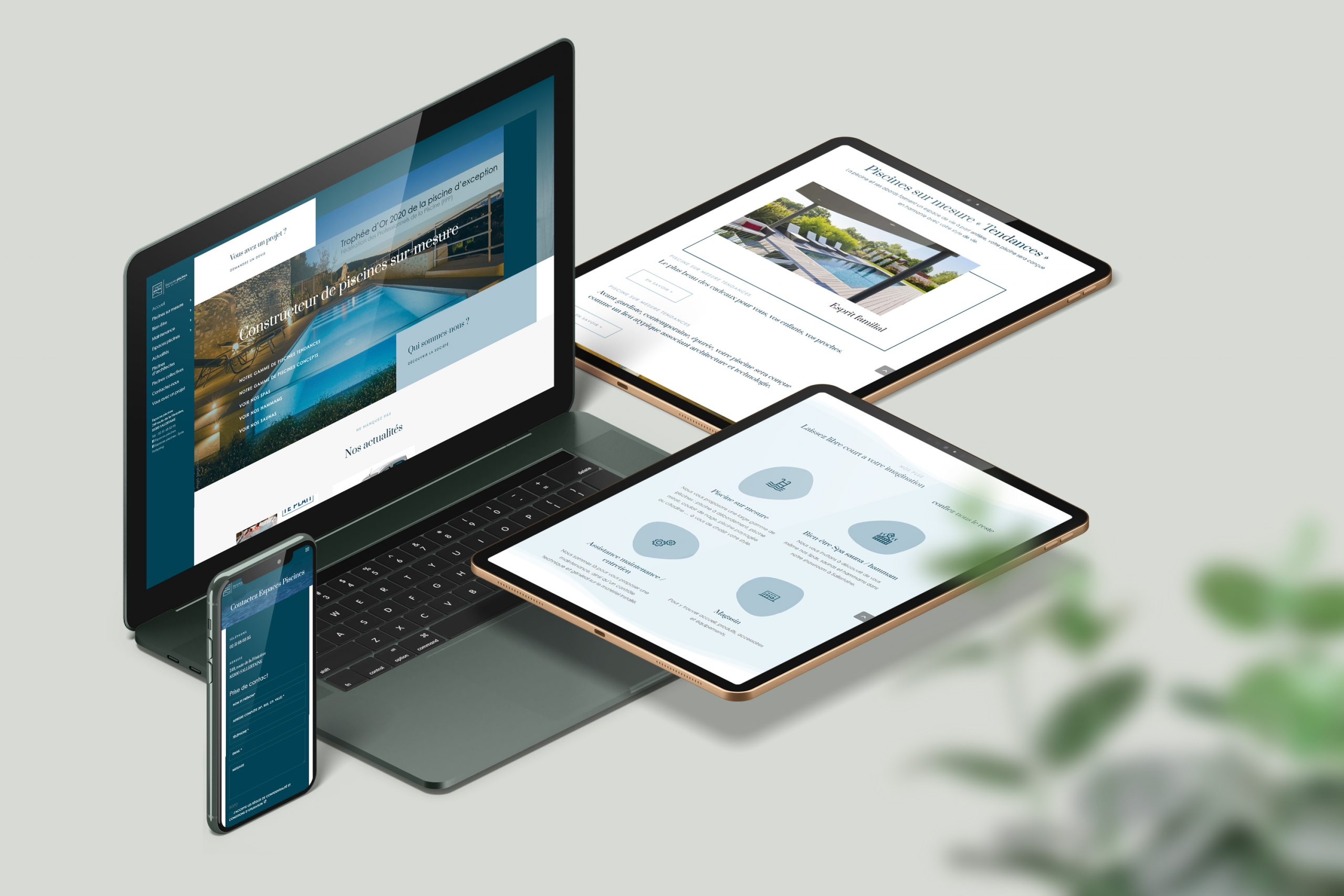 Réalisation du site Espaces Piscines par l'agence web Espace Technologie à Challans 85 Vendée